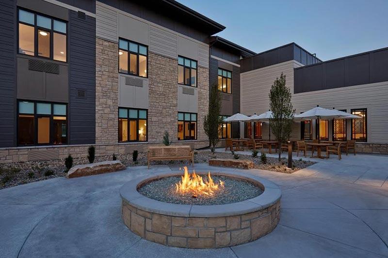Exterior of Aviva at Fitzsimons, with private rehabilitation suites in Aurora, Colorado