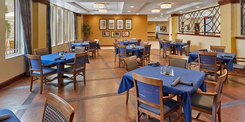 Dining room of a skilled nursing center in Aurora, Colorado